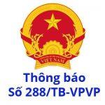 Thông báo số 288/TB-VPCP