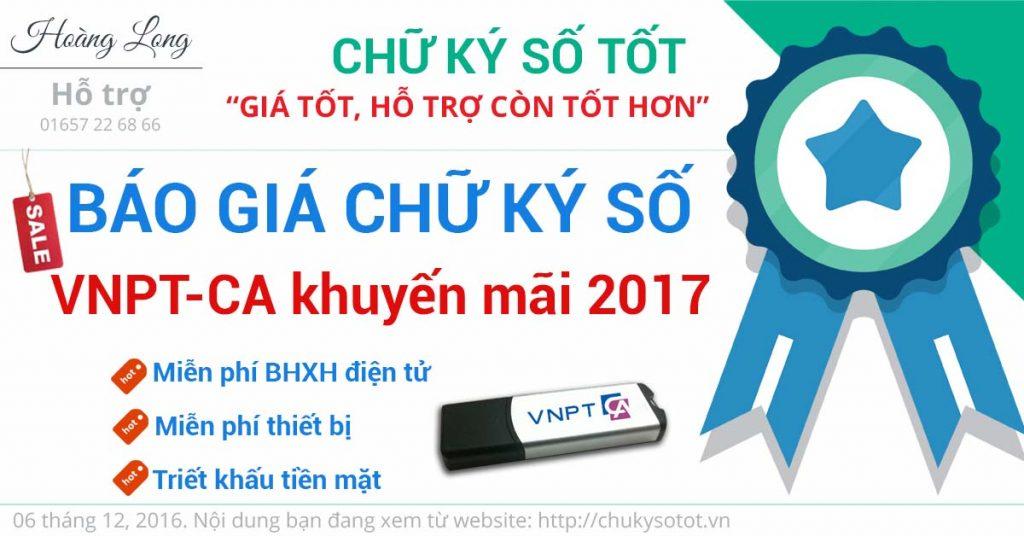 báo giá chữ ký số vnpt 2017