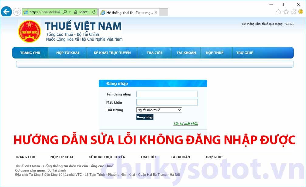 Sửa lỗi đăng nhập nhantokhai.gdt.gov.vn bị thoát ra ngoài