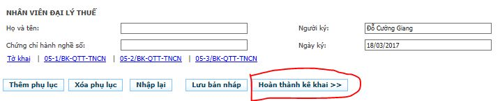 Hoàn thành kê khai để lưu lại tờ khai QT TTNCN