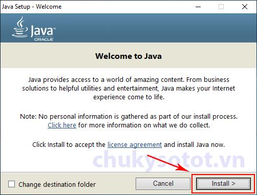 Các bước cài đặt Java kê khai Thuế (bước 1)